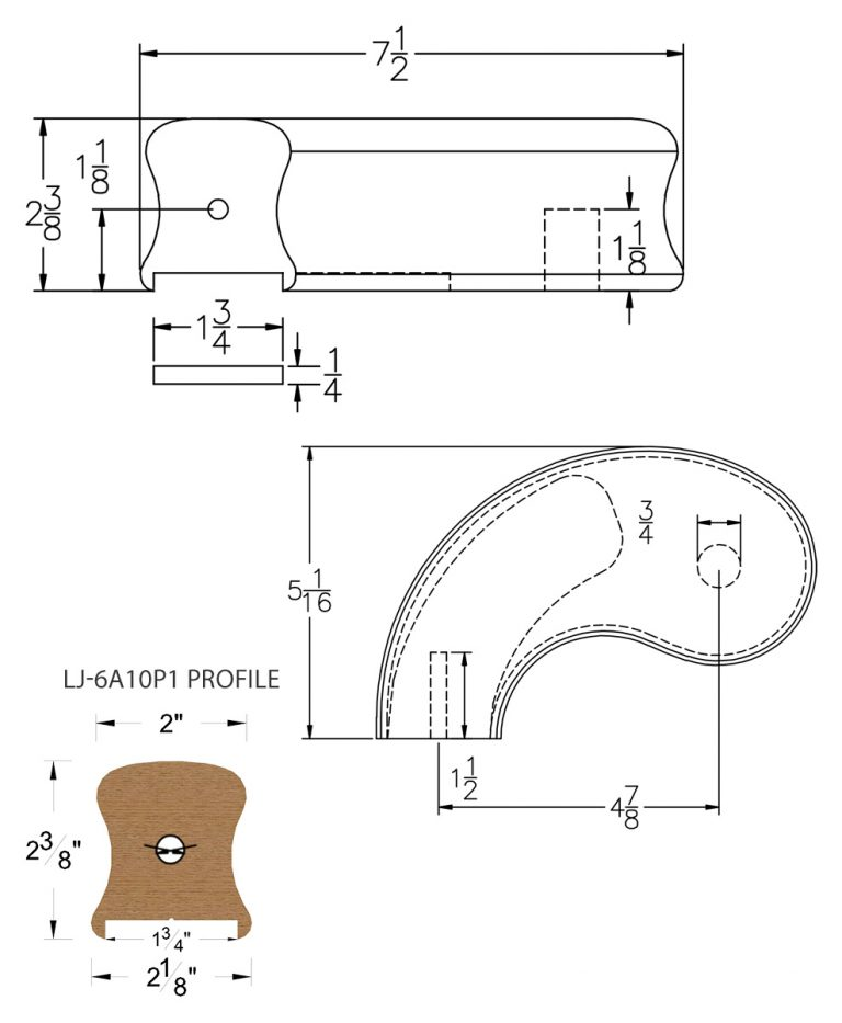 """LJ-7A40P1: Conect-A-Kit 5"""" Left Hand Turnout for LJ-6A10P1 - 1 3/4"""" Plowed Handrail CAD Drawing"""