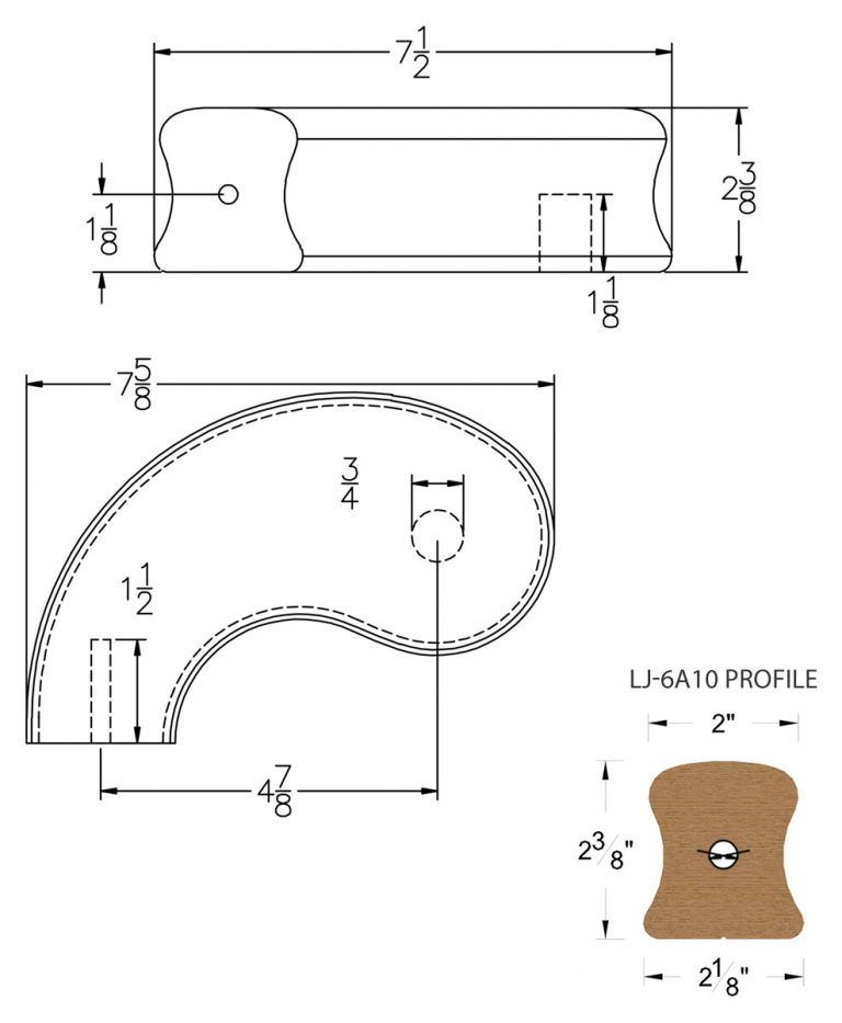 "LJ-7A40SB: Conect-A-Kit 5"" Left Hand Turnout for LJ-6A10 Handrail CAD Drawing"