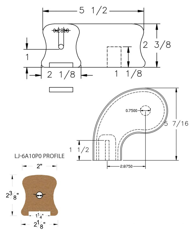 "LJ-7A41P0: Conect-A-Kit 3"" Left Hand Turnout for LJ-6A10P0 - 1 1/4"" Plowed Handrail CAD Drawing"