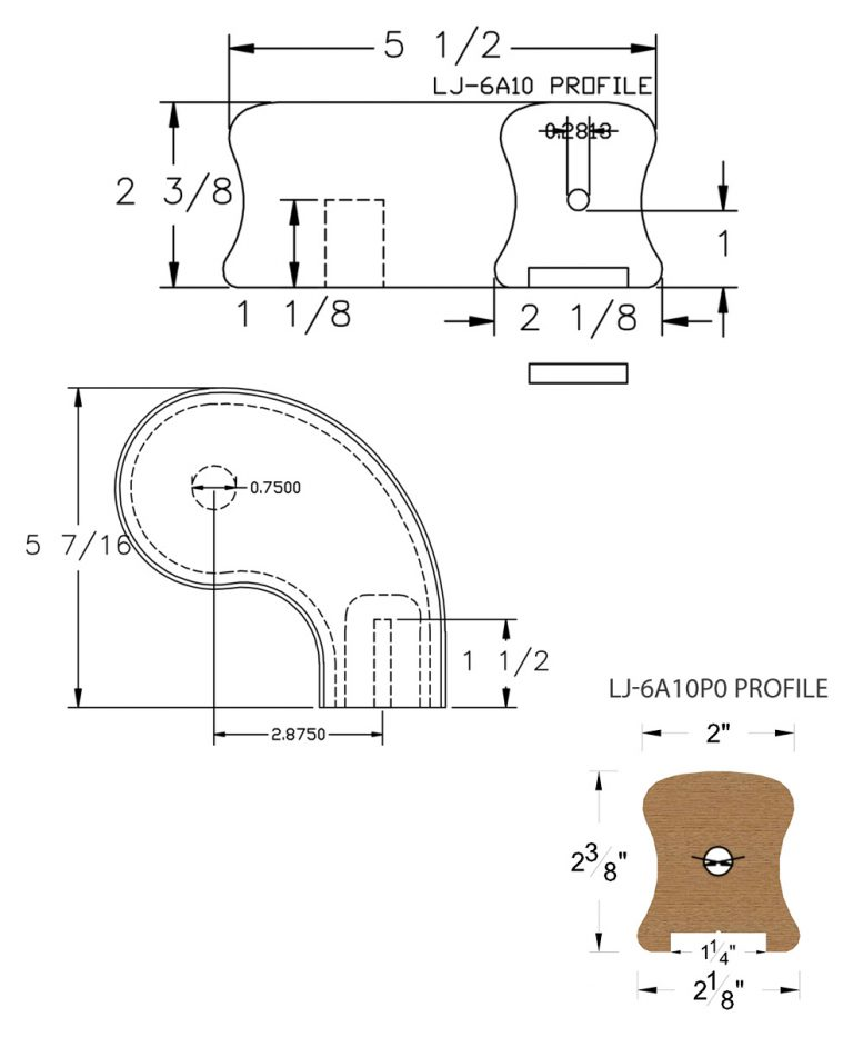 """LJ-7A46P0: Conect-A-Kit 3"""" Right Hand Turnout for LJ-6A10P0 - 1 1/4"""" Plowed Handrail CAD Drawing"""