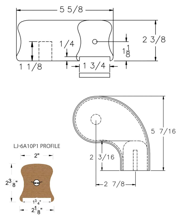 "LJ-7A46P1: Conect-A-Kit 3"" Right Hand Turnout for LJ-6A10P1 - 1 3/4"" Plowed Handrail CAD Drawing"