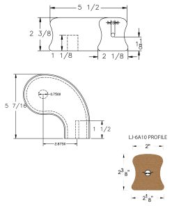 """LJ-7A46SB: Conect-A-Kit 3"""" Right Hand Turnout for LJ-6A10 Handrail CAD Drawing"""