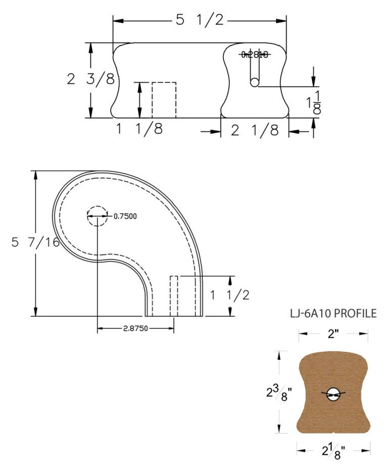 "LJ-7A46SB: Conect-A-Kit 3"" Right Hand Turnout for LJ-6A10 Handrail CAD Drawing"