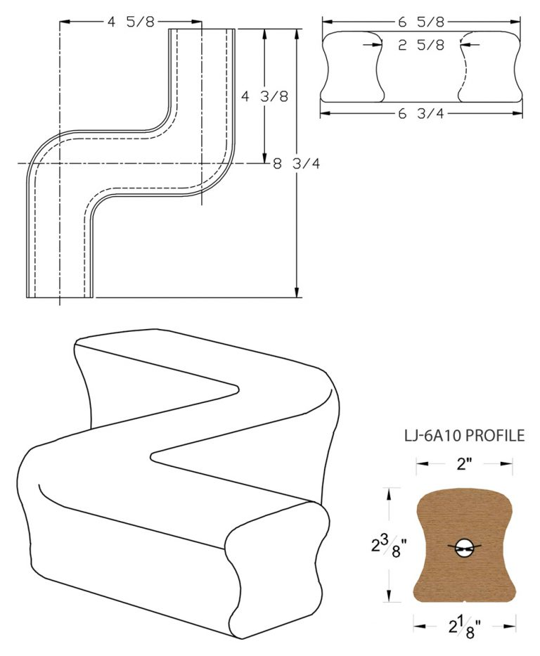LJ-7A47: Conect-A-Kit Left Hand S Fitting / Offset for LJ-6A10 Handrail CAD Drawing