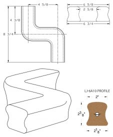 LJ-7A48: Conect-A-Kit Right Hand S Fitting / Offset for LJ-6A10 Handrail CAD Drawing