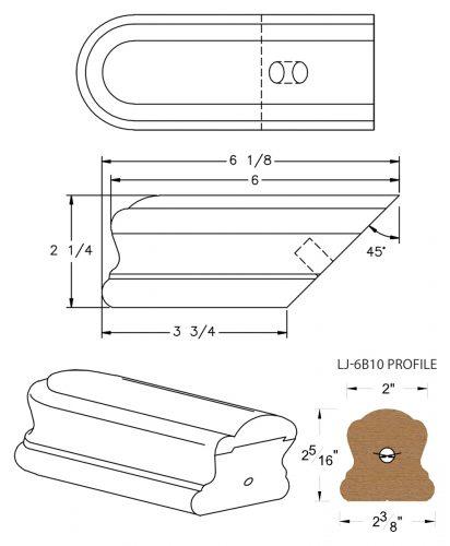 LJ-7B09: Conect-A-Kit Returned End for LJ-6B10 Handrail CAD Drawing