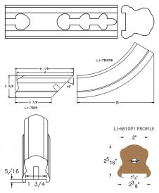 "LJ-7B10P1: Conect-A-Kit Starting Easing with Cap for LJ-6B10P1 - 1 3/4"" Plowed Handrail CAD Drawing"