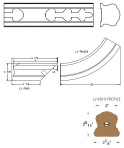 LJ-7B10SB: Conect-A-Kit Starting Easing with Cap for LJ-6B10 Handrail CAD Drawing