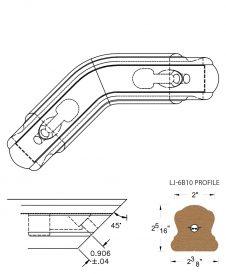 LJ-7B11-135: Conect-A-Kit 135° Level Turn for LJ-6B10 Handrail CAD Drawing