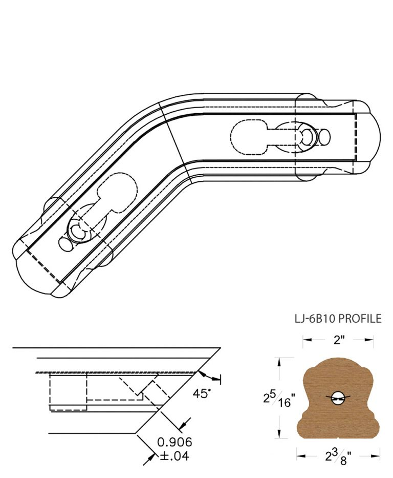 LJ-7B11-135: Conect-A-Kit 135° Level Turn for LJ-6B10 Handrail CAD Drawing