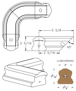 LJ-7B11: Conect-A-Kit 90° Level Quarterturn for LJ-6B10 Handrail CAD Drawing