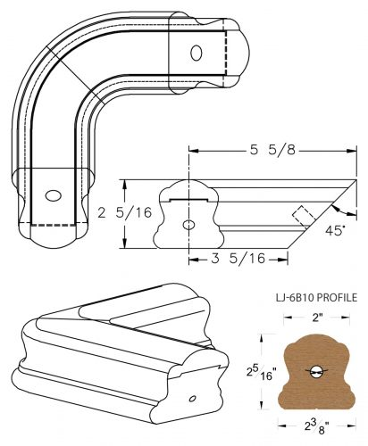 LJ-7B11: Conect-A-Kit 90° Level Quarterturn for LJ-6B10 Handrail CAD Drawing