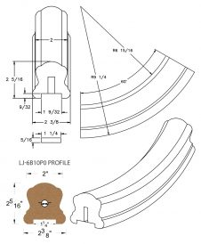 "LJ-7B12P0: Conect-A-Kit 60° Upeasing for LJ-6B10P0 - 1 1/4"" Plowed Handrail CAD Drawing"