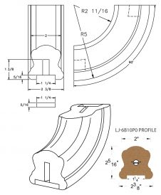 "LJ-7B14P0: Conect-A-Kit 90° Upeasing for LJ-6B10P0 - 1 1/4"" Plowed Handrail CAD Drawing"