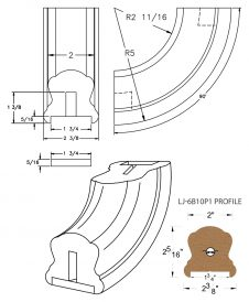 "LJ-7B14P1: Conect-A-Kit 90° Upeasing for LJ-6B10P1 - 1 3/4"" Plowed Handrail CAD Drawing"