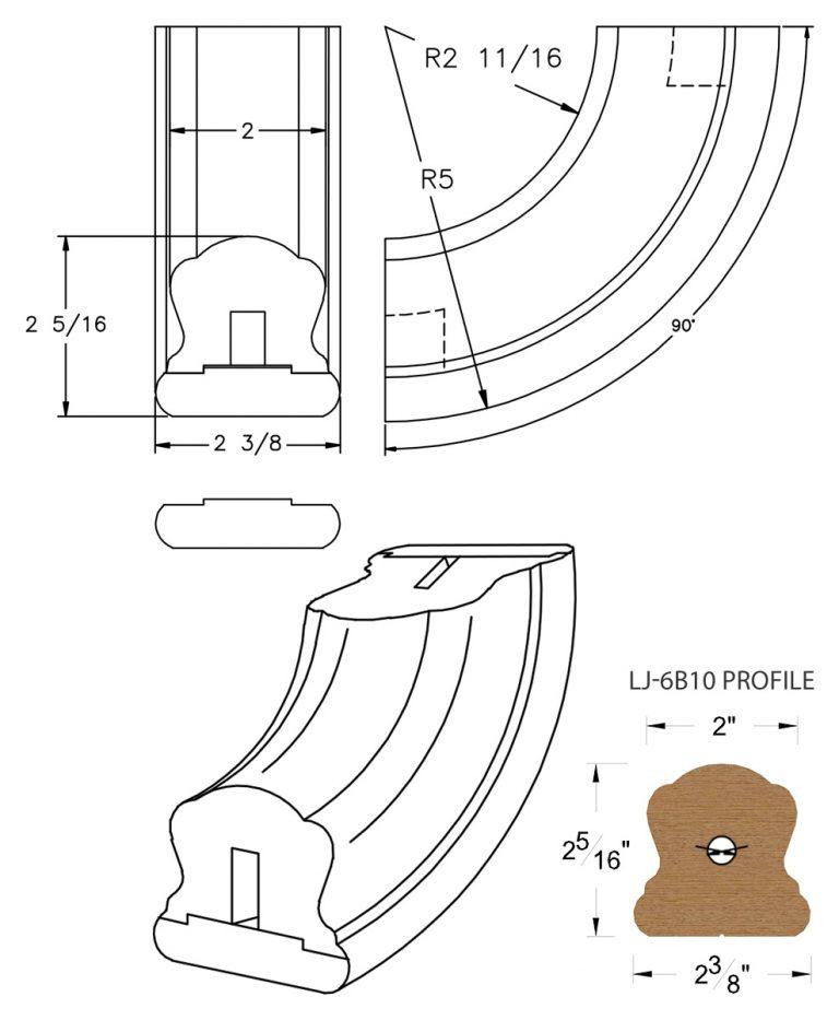 LJ-7B14SB: Conect-A-Kit 90° Upeasing for LJ-6B10 Handrail CAD Drawing