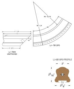 "LJ-7B15P0: Conect-A-Kit Starting Easing for LJ-6B10P0 - 1 1/4"" Plowed Handrail CAD Drawing"