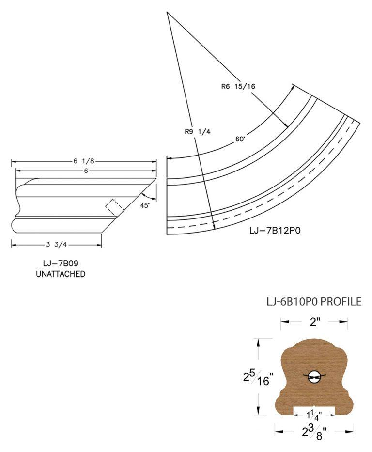 "LJ-7B15P0: Conect-A-Kit Starting Easing for LJ-6B10P0 - 1 1/4"" Plowed Handrail CAD Drawing"