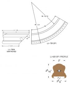 "LJ-7B15P1: Conect-A-Kit Starting Easing for LJ-6B10P1 - 1 3/4"" Plowed Handrail CAD Drawing"