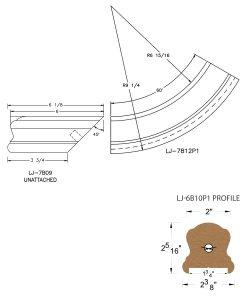 "LJ-7B15P1: Conect-A-Kit Starting Easing for LJ-6B10P1 - 1 3/4"" Plowed Handrail CAD Drawing"