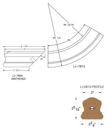 LJ-7B15SB: Conect-A-Kit Starting Easing for LJ-6B10 Handrail CAD Drawing