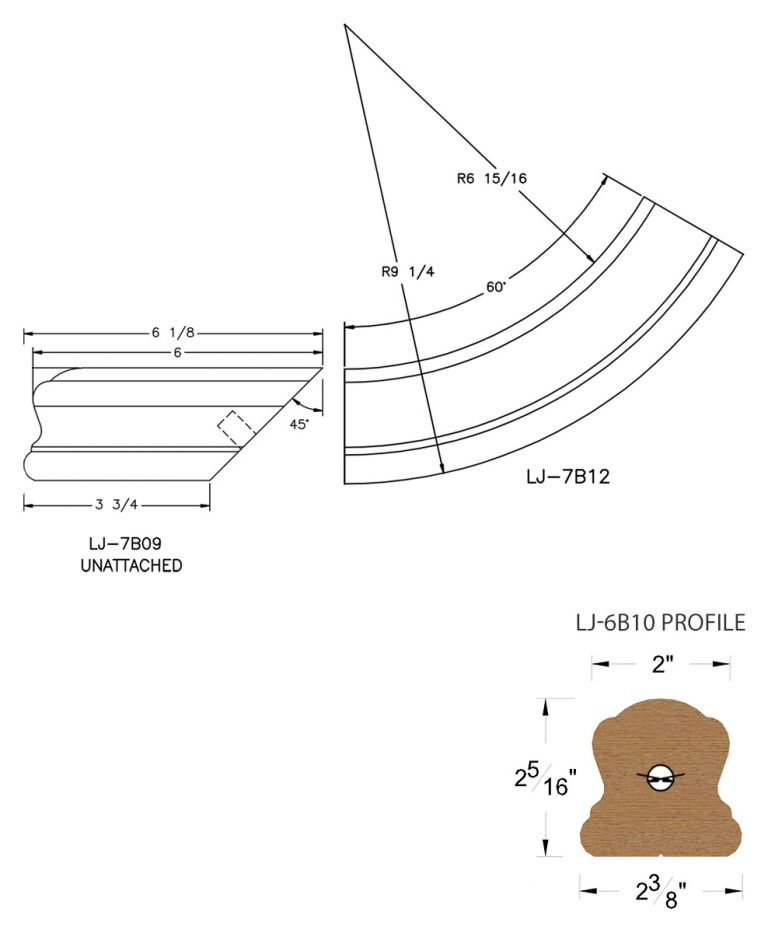LJ-7B15SB: Conect-A-Kit Starting Easing for LJ-6B10 Handrail CAD Drawing