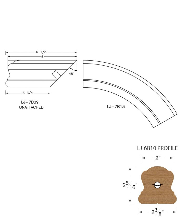 LJ-7B16: Conect-A-Kit Starting Over Easing for LJ-6B10 Handrail CAD Drawing