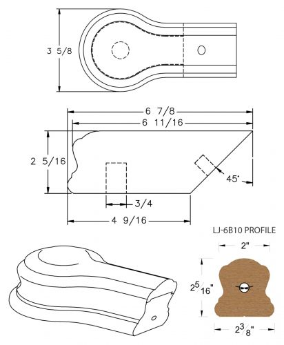 LJ-7B19: Conect-A-Kit Opening Cap for LJ-6B10 Handrail CAD Drawing