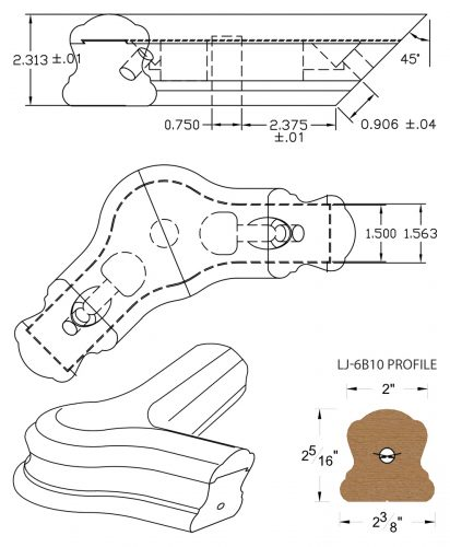 LJ-7B21-135: Conect-A-Kit 135° Level Turn with Cap for LJ-6B10 Handrail CAD Drawing