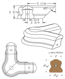 LJ-7B21: Conect-A-Kit 90° Level Quarterturn with Cap for LJ-6B10 Handrail CAD Drawing