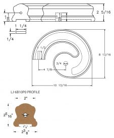 "LJ-7B30P0: Conect-A-Kit Left Hand Volute for LJ-6B10P0 - 1 1/4"" Plowed Handrail CAD Drawing"