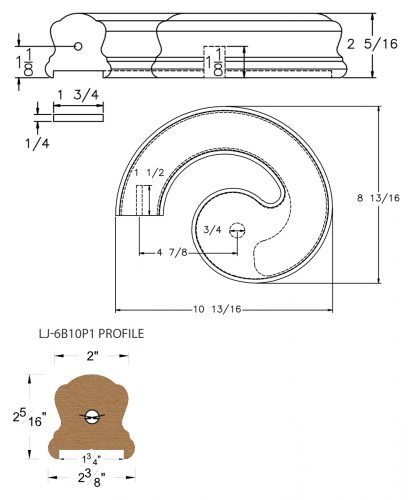 """LJ-7B30P1: Conect-A-Kit Left Hand Volute for LJ-6B10P1 - 1 3/4"""" Plowed Handrail CAD Drawing"""