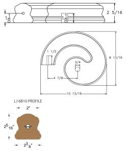 LJ-7B30SB: Conect-A-Kit Left Hand Volute for LJ-6B10 Handrail CAD Drawing