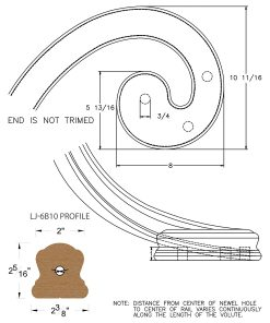 LJ-7B31: Left Hand Climbing Volute for LJ-6B10 Handrail CAD Drawing