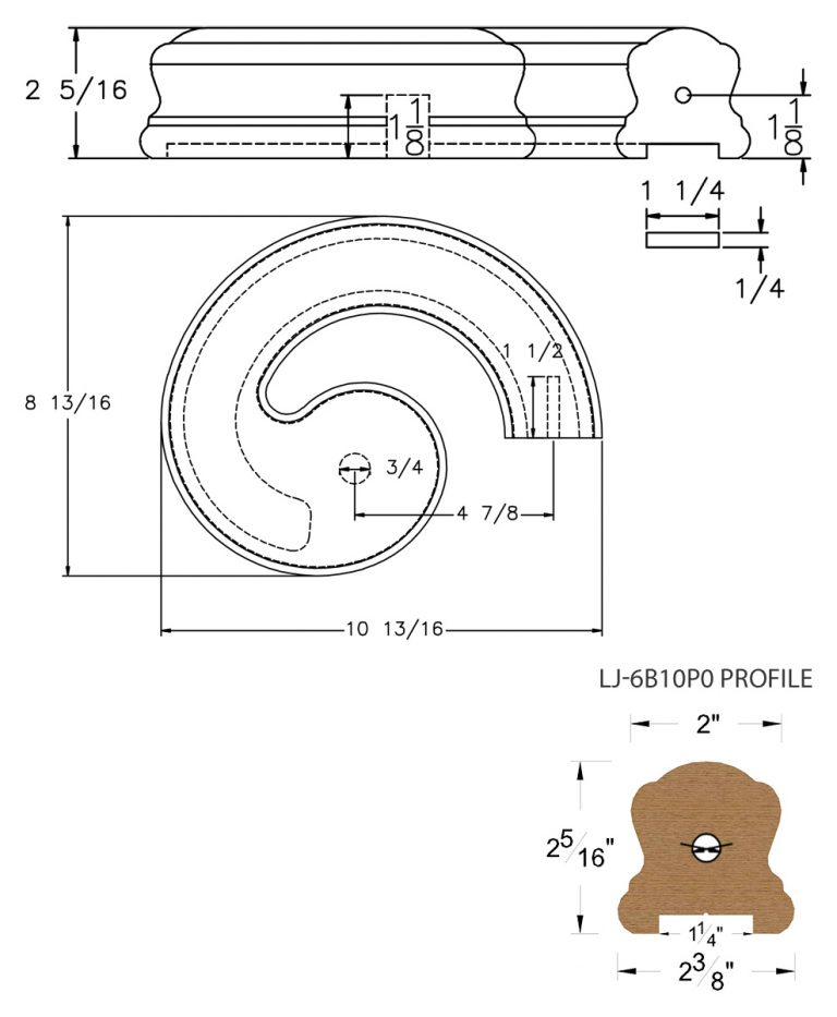 """LJ-7B35P0: Conect-A-Kit Right Hand Volute for LJ-6B10P0 - 1 1/4"""" Plowed Handrail CAD Drawing"""