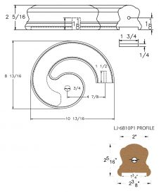 "LJ-7B35P1: Conect-A-Kit Right Hand Volute for LJ-6B10P1 - 1 3/4"" Plowed Handrail CAD Drawing"