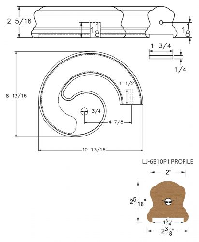 """LJ-7B35P1: Conect-A-Kit Right Hand Volute for LJ-6B10P1 - 1 3/4"""" Plowed Handrail CAD Drawing"""
