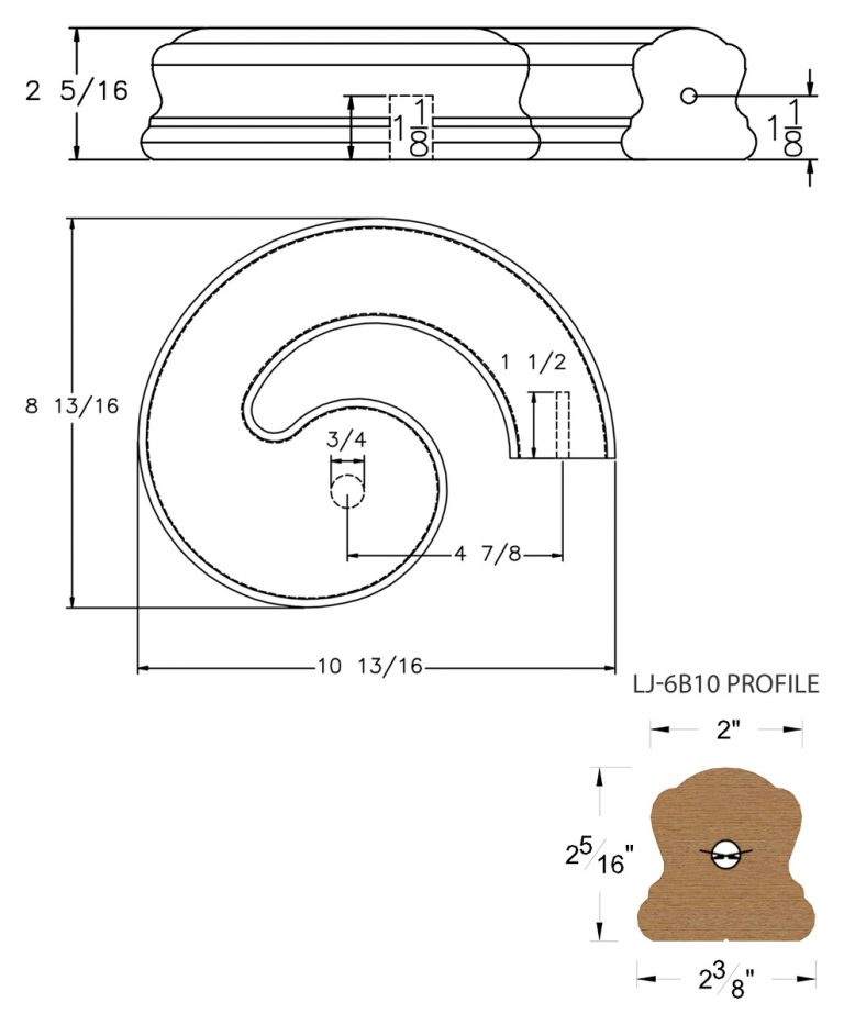 LJ-7B35SB: Conect-A-Kit Right Hand Volute for LJ-6B10 Handrail CAD Drawing