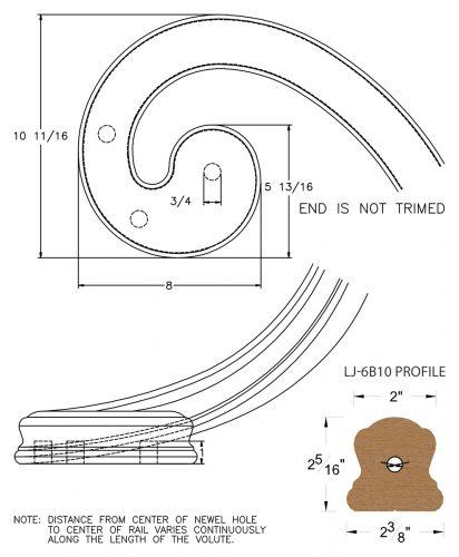 LJ-7B36: Right Hand Climbing Volute for LJ-6B10 Handrail CAD Drawing