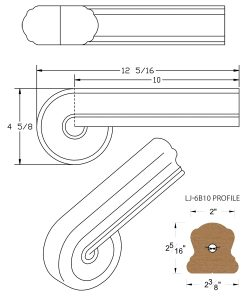 LJ-7B38: Vertical Volute for LJ-6B10 Handrail CAD Drawing