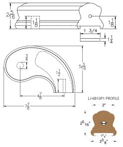 """LJ-7B45P1: Conect-A-Kit 5"""" Right Hand Turnout for LJ-6B10P1 - 1 3/4"""" Plowed Handrail CAD Drawing"""