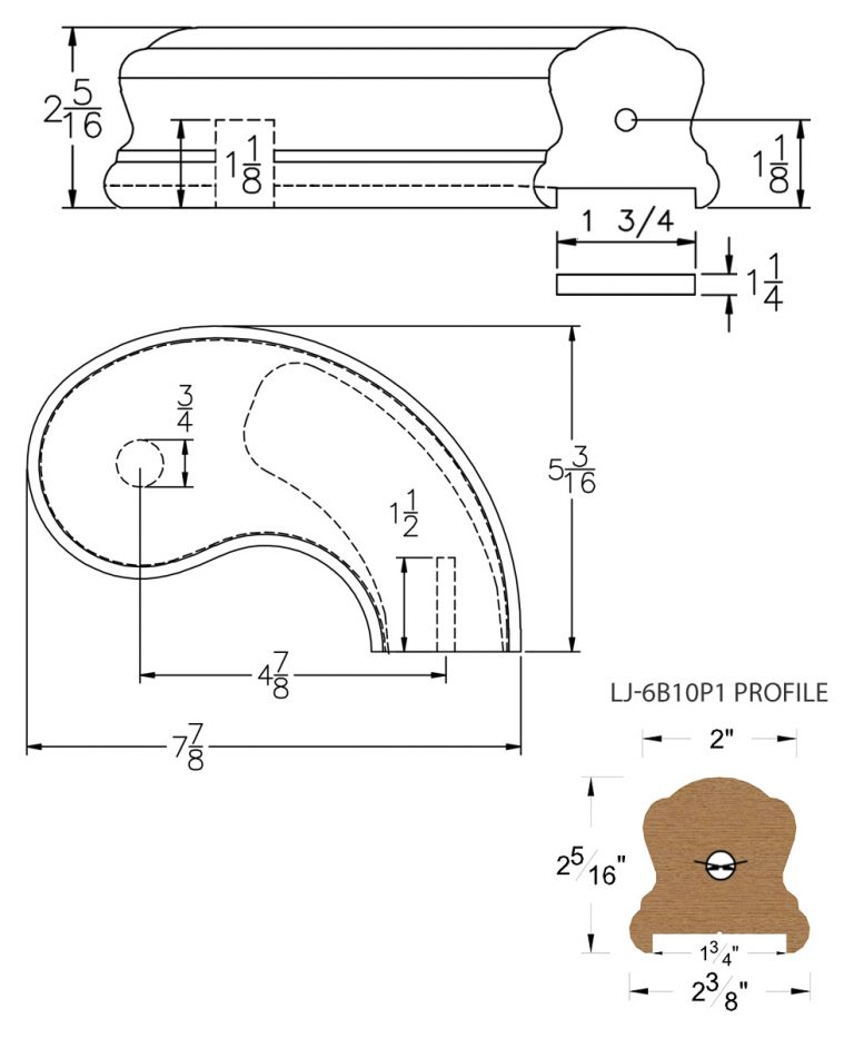 "LJ-7B45P1: Conect-A-Kit 5"" Right Hand Turnout for LJ-6B10P1 - 1 3/4"" Plowed Handrail CAD Drawing"