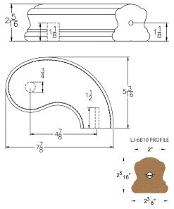 """LJ-7B45SB: Conect-A-Kit 5"""" Right Hand Turnout for LJ-6B10 Handrail CAD Drawing"""