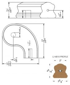 """LJ-7B46SB: Conect-A-Kit 3"""" Right Hand Turnout for LJ-6B10 Handrail CAD Drawing"""