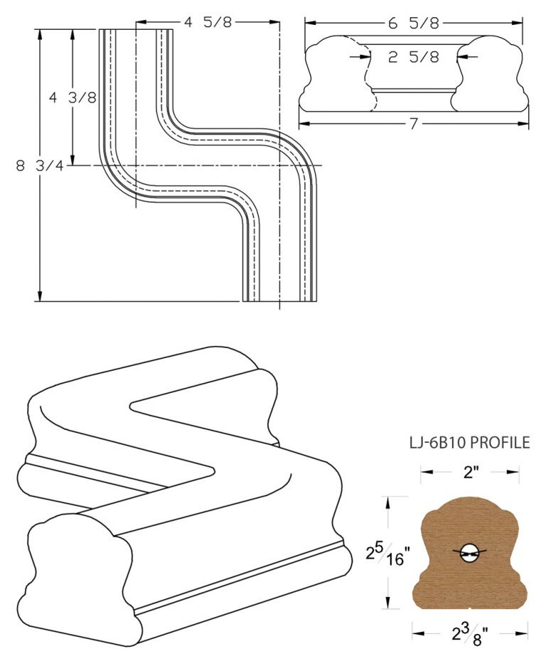 LJ-7B48: Conect-A-Kit Right Hand S Fitting / Offset for LJ-6B10 Handrail CAD Drawing