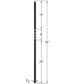 "HF34.1.1-T: Mega 3/4"" Hollow Square 18 Gauge Aluminum Twist Baluster Dimensions"