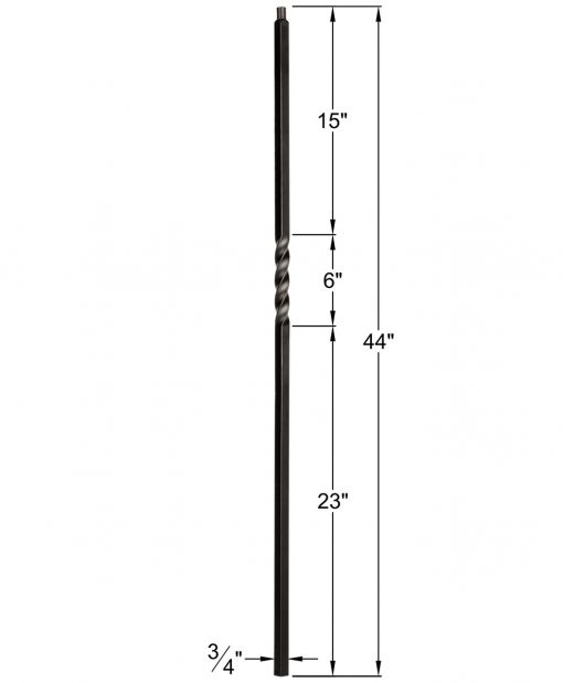 "HF34.1.1-T: Mega 3/4"" Hollow Square 18 Gauge Aluminum Twist Baluster Dimensions"