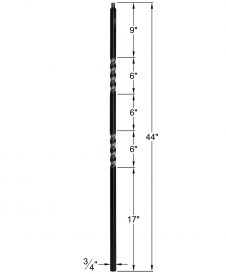 "HF34.1.2-T: Mega 3/4"" Hollow Square 18 Gauge Aluminum Double Twist Baluster Dimensions"