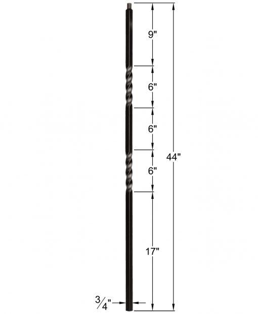 "HF34.1.2-T: Mega 3/4"" Hollow Square 18 Gauge Aluminum Double Twist Baluster Dimensions"