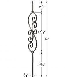"HF34.1.25-T: Mega 3/4"" Hollow Square 18 Gauge Aluminum Scroll Baluster Dimensions"
